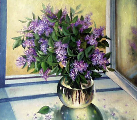 Vladimir Vasilyevich Abaimov. The Lilac on the Window Sill