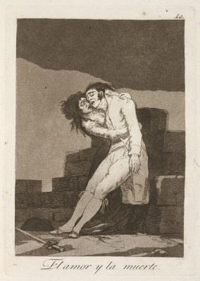 """Francisco Goya. """"Love and death"""" (Series """"Caprichos"""", page 10)"""