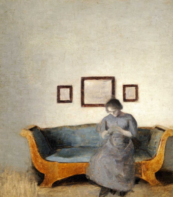 Vilhelm Hammershøi. Ida, sitting on the sofa