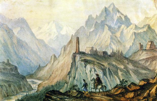 Mikhail Yurjevich Lermontov. View of Cross mountain from the gorge near Kobi
