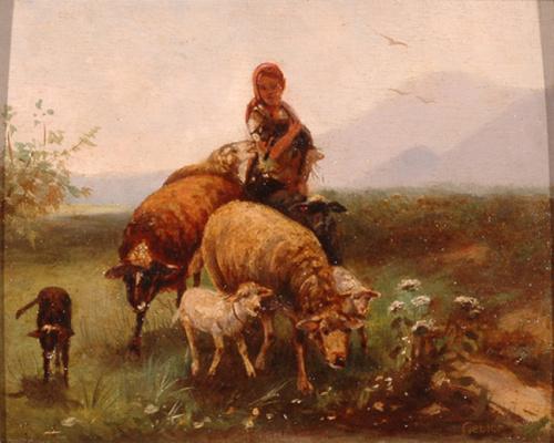 Пастушка с овцами