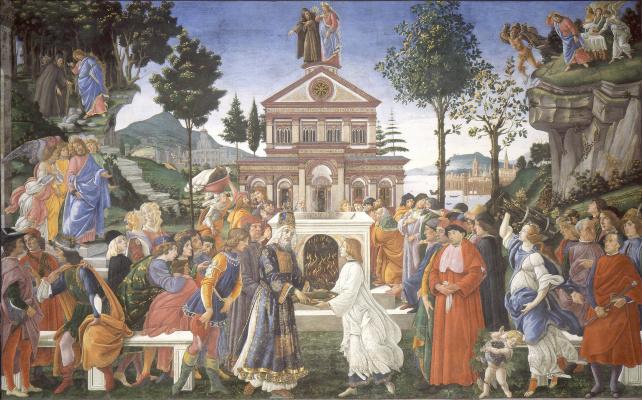 Sandro Botticelli. The three temptations of Christ