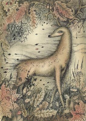 Olyona Ivanovna Koneva. Deer. Autumn wind. Print