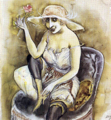 Otto Dix. Woman with a cat and a rose