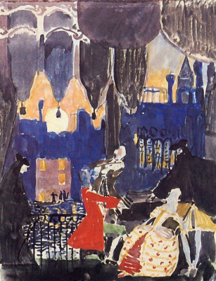 Alexander Yakovlevich Golovin. Rough sketch scenery for the Opera N. Rimsky-Korsakov's Mozart and Salieri