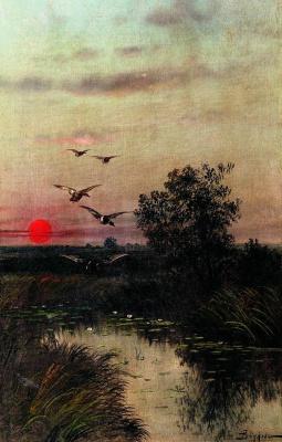 Ефим Ефимович Волков. Заход солнца над озером