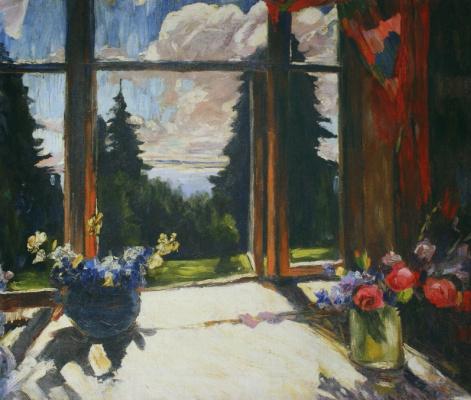 Abram Arkhipov. Veranda with flowers