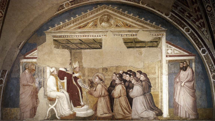 Giotto di Bondone. Confirmation of the charter. Scenes from the life of St. Francis