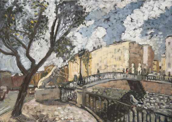 Ekaterina Anatolyevna Kudryavtseva. Petersburg. Bright day on the canal 63х89 H. M. 2016