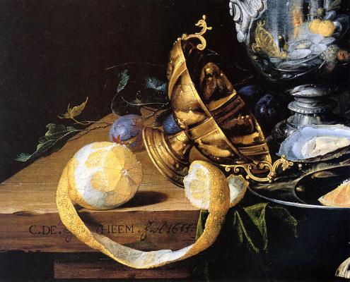 Корнелис де Хем. Натюрморт с лимоном и виноградом (фрагмент)