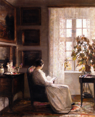 Carl Wilhelm Halse. Reading in the morning light