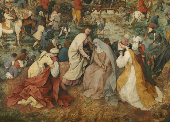 Pieter Bruegel The Elder. The procession to Calvary (carrying the cross). Fragment 5. The three Marys and John the Evangelist