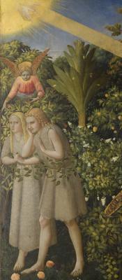 Фра Беато Анджелико. Алтарь Благовещение Марии. Фрагмент: изгнание Адама и Евы из Рая