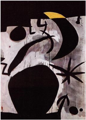 Joan Miro. Woman and bird in the night
