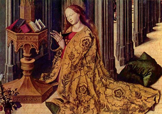 Barthelemy d ' Eyck. The Annunciation, detail
