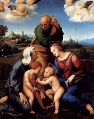 Рафаэль Санти. Святое семейство со святыми Елизаветой и Иоанном Крестителем (Мадонна Каниджиани)