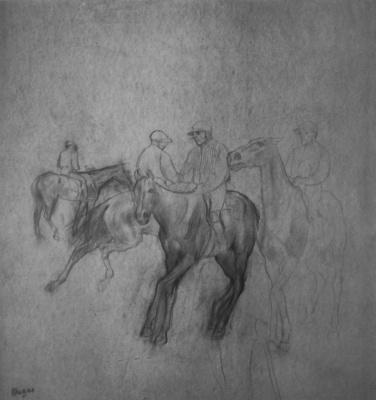 Edgar Degas. Four jockey before the start