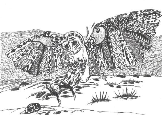"Николай Николаевич Оларь. Series of stylized drawings, ""Birds"" (2)"
