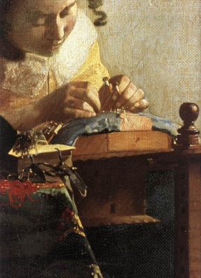 Jan Vermeer. Lacemaker. Fragment