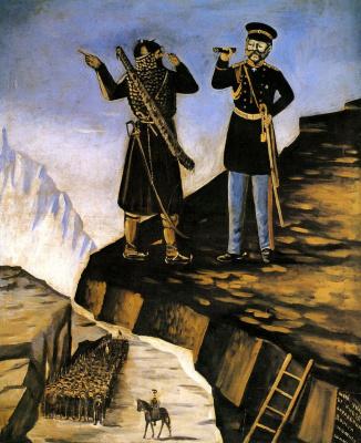 Нико Пиросмани (Пиросманашвили). Шете помогает князю Барятинскому поймать Шамиля
