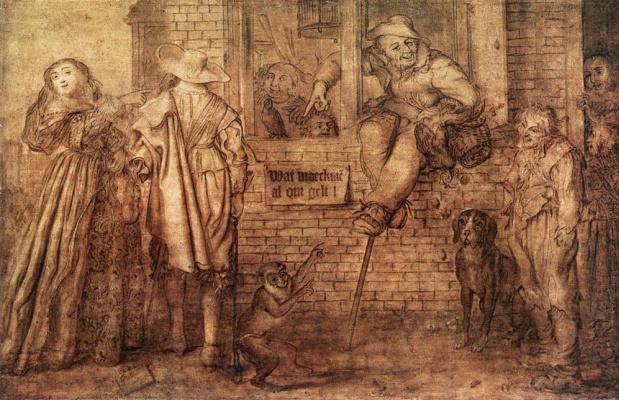Адриан ван де Венне. Люди, обезьяна и собака
