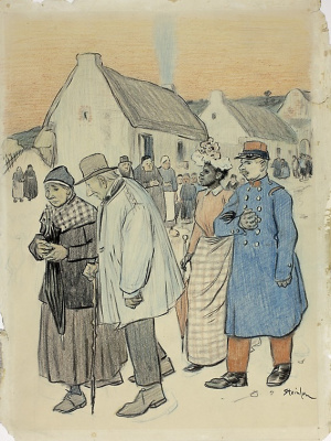 Theophile-Alexander Steinlen. Street scene with two pairs of