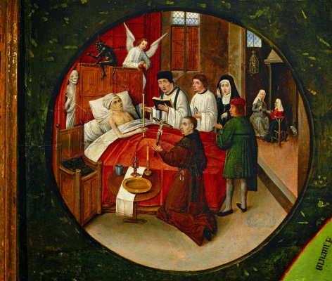 Hieronymus Bosch. Death. The seven deadly sins and the Four last things. Fragment