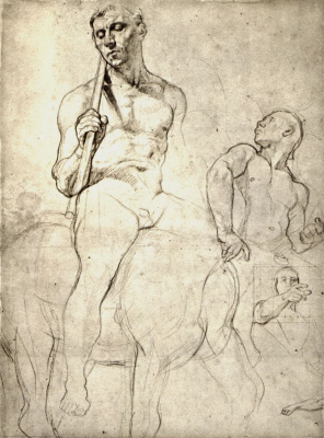 Jean Auguste Dominique Ingres. Three studies of Nude riders