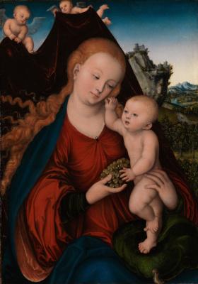 Лукас Кранах Старший. Мадонна с младенцем и кистью винограда