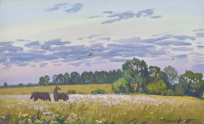 Vladimir Iosifovich Khmelevsky. Evening landscape with horses