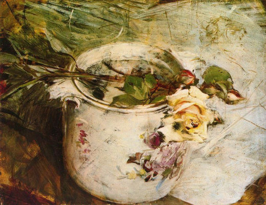 Giovanni Boldini. Still life with yellow rose and Saxon vase