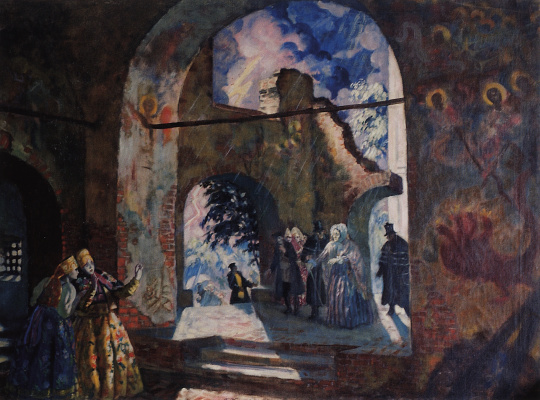 "Boris Mikhailovich Kustodiev. Under the arches of the old Church. A sketch of the scenery for the play by A. N. Ostrovsky ""Thunderstorm"""