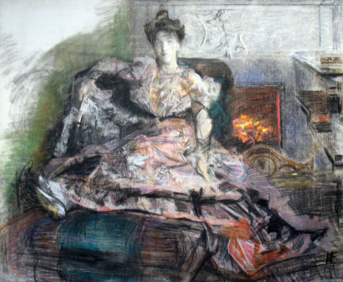 Mikhail Vrubel. After the concert. Portrait of Nadezhda Ivanovna Zabela-Vrubel by the fireplace, in a dress designed by the artist