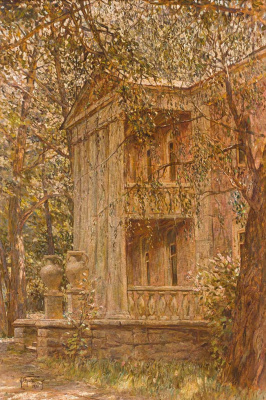 Isaac Brodsky. View of the villa in the park