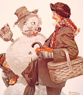 Norman Rockwell. Grandfather and Snowman