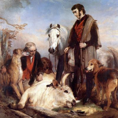 Эдвин Генри Ландсир. Сцена в Чиллингем-парке: портрет лорда Оссулстона, или смерть дикого быка