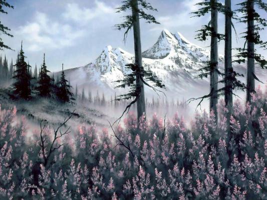 Bob Ross. Mountain flowers
