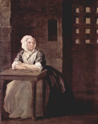 William Hogarth. Sarah Macolm in prison