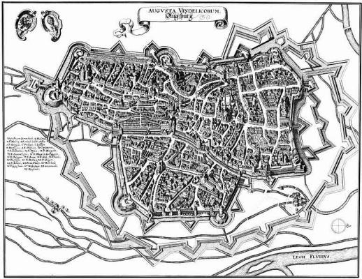 Маттеус Мериан Старший. Аугсбург, панорамный план с севера