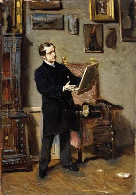 Giovanni Boldini. Self portrait with a picture in hand