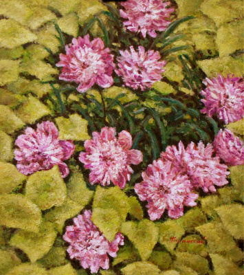 Arkady Paransky. Peonies are among the leaves of wild grapes. The hardboard. Oil. 80х70см.