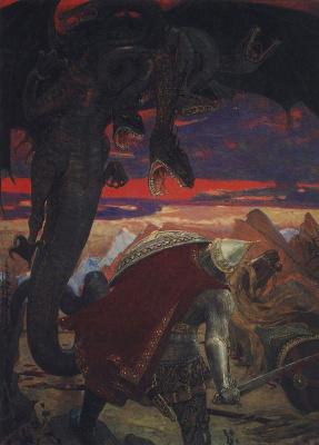 Viktor Mikhailovich Vasnetsov. Fight Dobrynya Nikitich with seven-headed Serpent dragon
