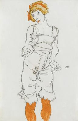 Эгон Шиле. Женщина в нижнем белье и чулках