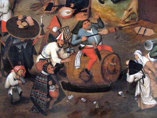 Pieter Bruegel The Elder. Battle of Lent and carnival. Fragment 1