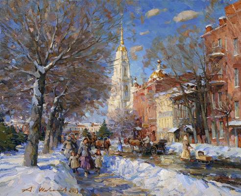Александр Викторович Шевелёв. Rybinsk. Kazanskaya street. Oil on canvas 48, 2 x 58, 8 cm 2013