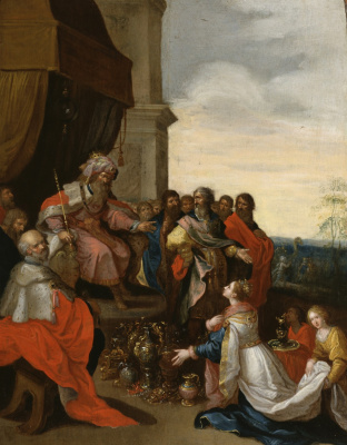 Frans Franken the Younger. King Solomon takes the queen of Sheba. 1620-1629