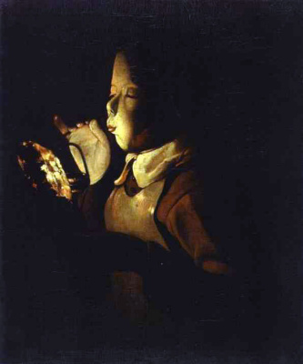 Georges de La Tour. The boy with the lamp