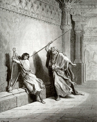 Paul Gustave Dore. Illustration to the Bible: Saul's attempt on David