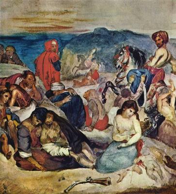Eugene Delacroix. The massacre of Chios (sketch)