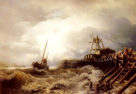 Андреас Ахенбах. Рыболовное судно